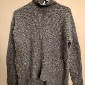 Madewell gray wool waffle-knit turtle neck